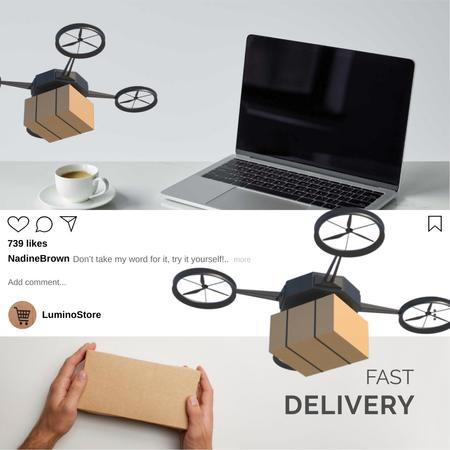 Ontwerpsjabloon van Animated Post van E-Commerce Offer with Drone Delivery