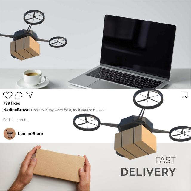Modèle de visuel E-Commerce Offer with Drone Delivery - Animated Post
