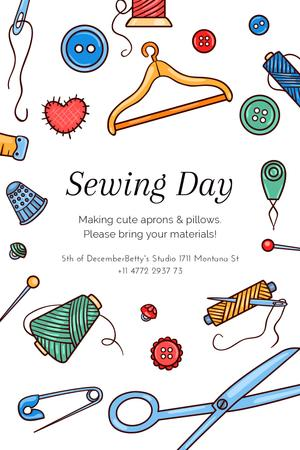 Sewing day event with needlework tools Tumblr Modelo de Design