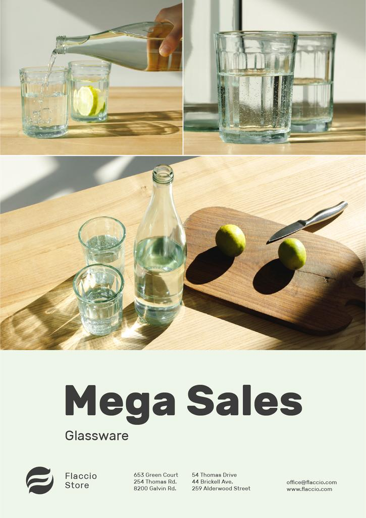 Kitchenware Sale Jar and Glasses with Water — Créer un visuel
