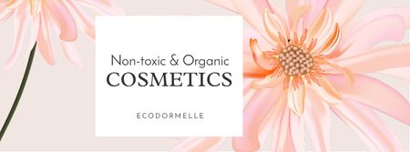 Ontwerpsjabloon van Facebook cover van Organic Cosmetic Offer with Pink Flower