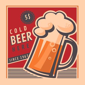 Cold beer Vintage illustration