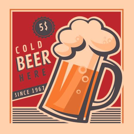 Plantilla de diseño de Cold beer Vintage illustration Instagram