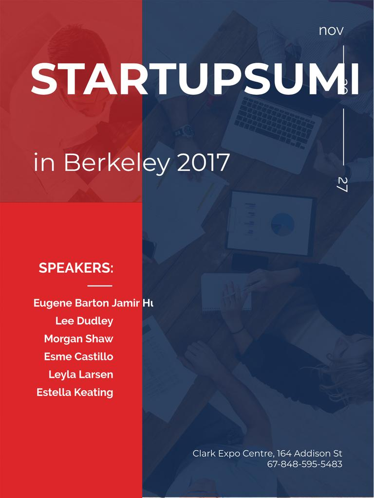 Startup summit invitation with Business Team working in office Poster US – шаблон для дизайна
