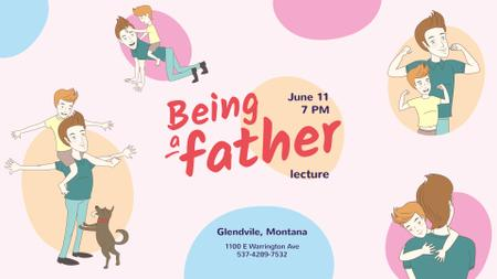 Parenthood Lecture announcement Son Having Fun with Father FB event cover Modelo de Design