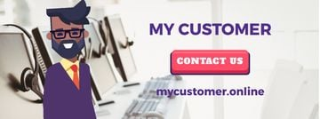 Customer Support Ad with Waving Businessman