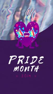 Pride Month Celebration Heart in Rainbow Glasses | Vertical Video Template