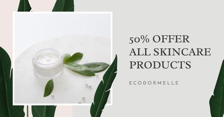 Skincare Products Discount Offer Facebook AD Modelo de Design