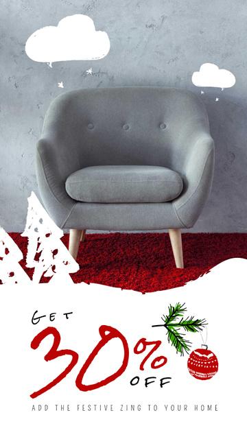 Szablon projektu Furniture Christmas Sale Armchair in Grey Instagram Video Story