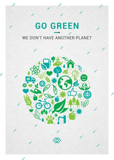 Template di design Ecology Concept with green Nature icons Flayer