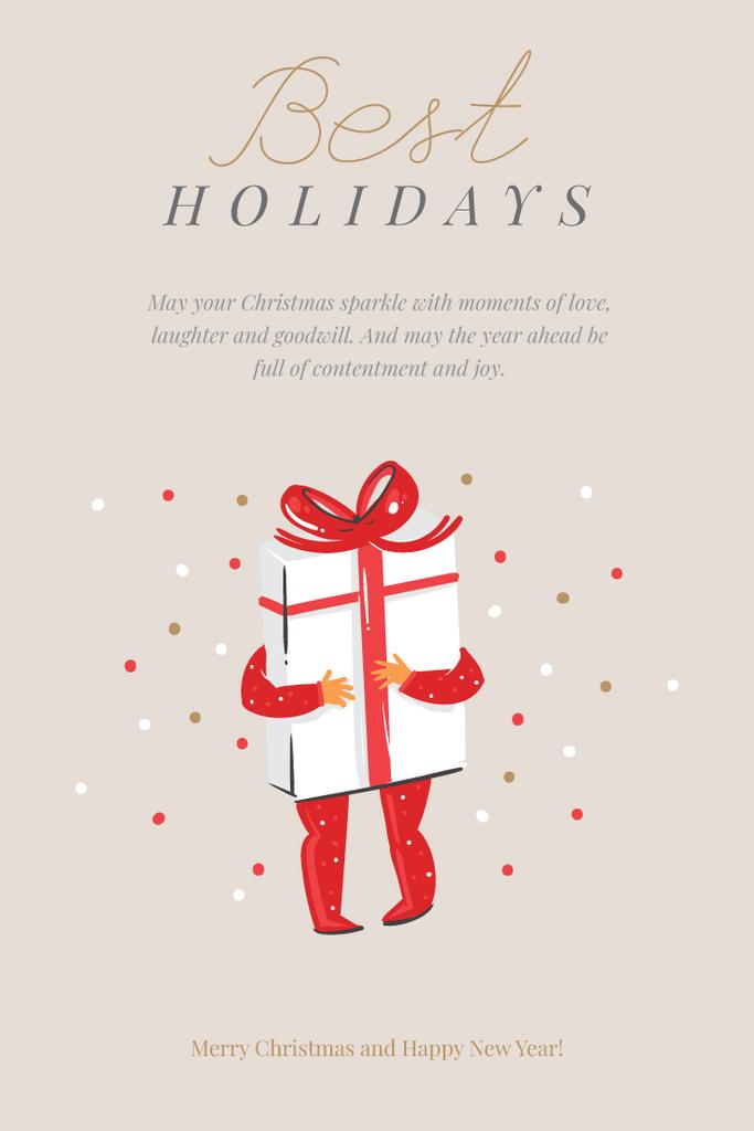 Winter Holidays Greeting Holding Christmas Gift — Crea un design