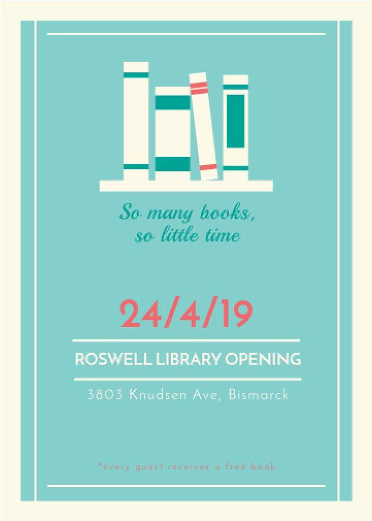 Library Opening Announcement Books on Shelf | Flyer Template — Crear un diseño