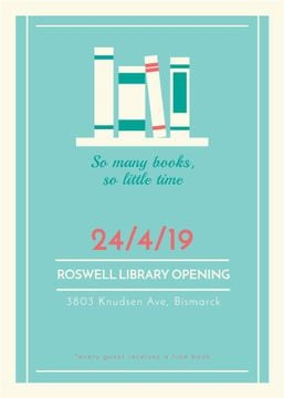 Library Opening Announcement Books on Shelf | Flyer Template