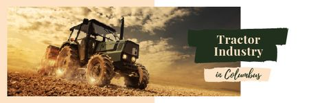 Agriculture Tractor Working in Field Email header Modelo de Design