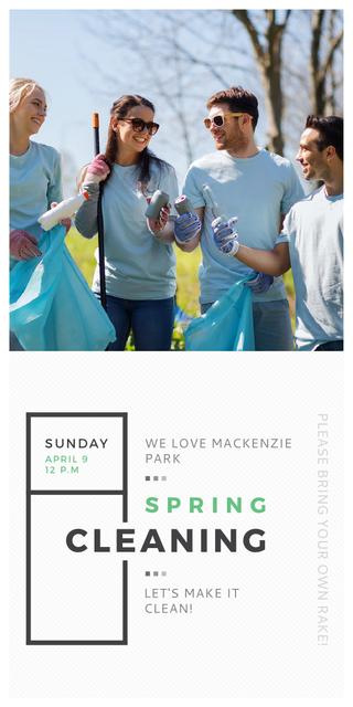 Ecological Event Volunteers Collecting Garbage Graphicデザインテンプレート