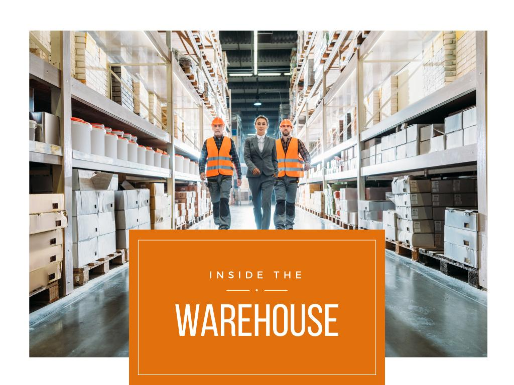 Workers walking in warehouse — Modelo de projeto