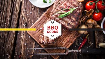 BBQ Party Invitation with Grilled Steak | Youtube Channel Art
