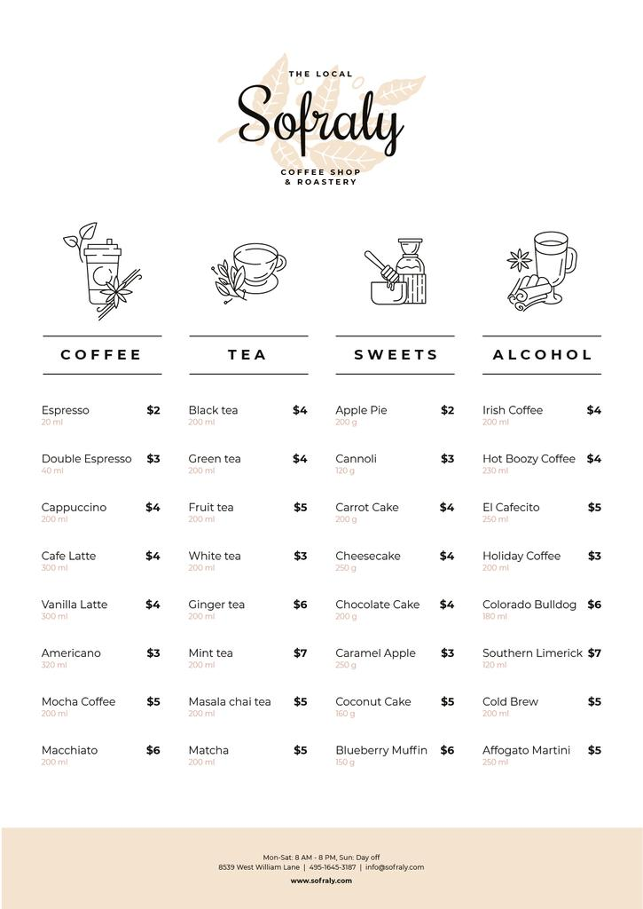 Coffee Shop drinks and sweets — Modelo de projeto