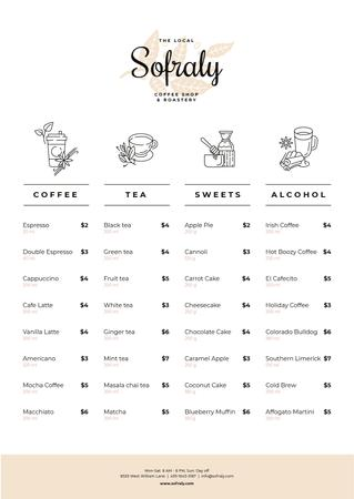 Plantilla de diseño de Coffee Shop drinks and sweets Menu