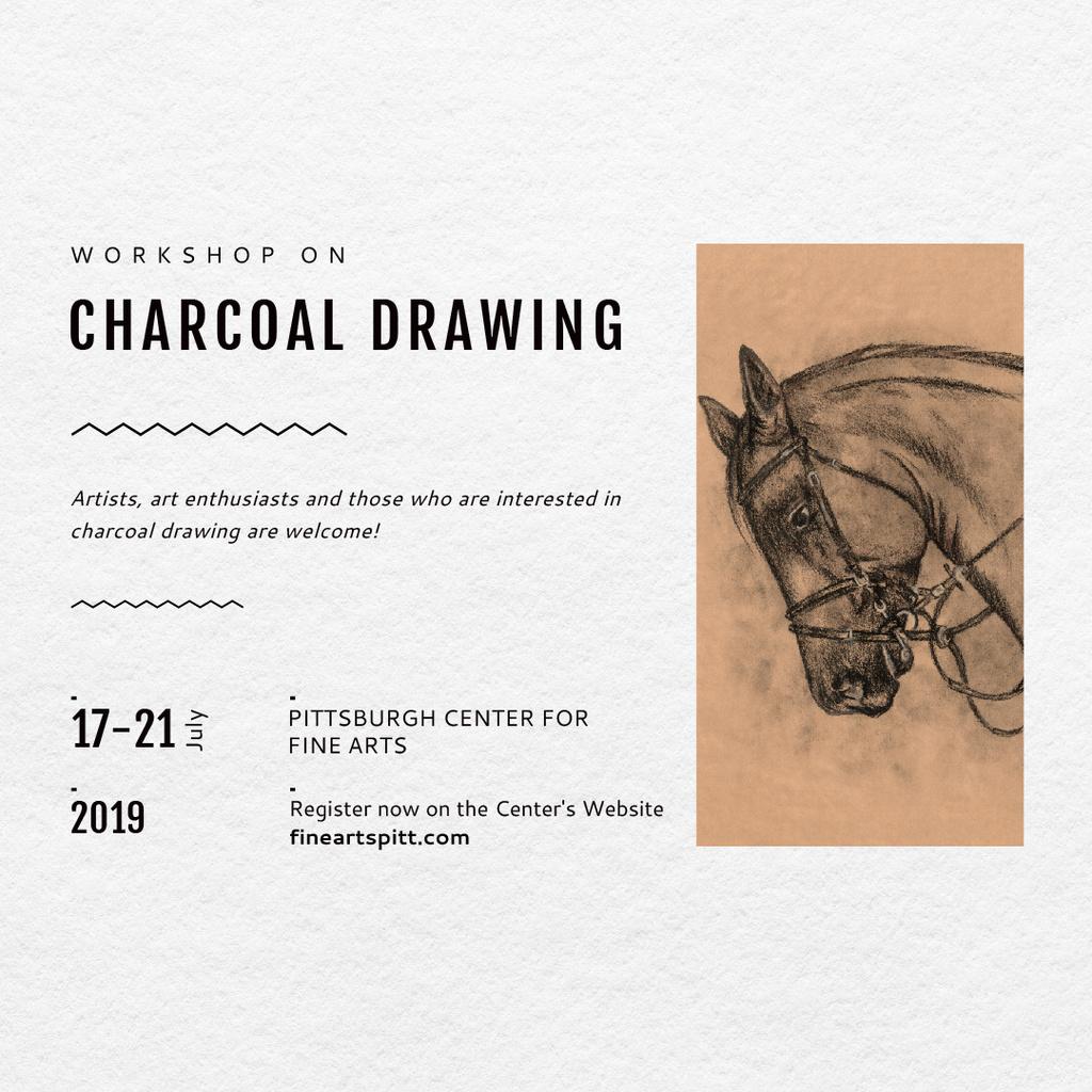Drawing Workshop Announcement Horse Image — Créer un visuel