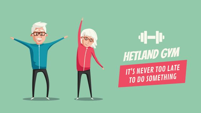 Plantilla de diseño de Gym Ticket Offer Old People Exercising Full HD video