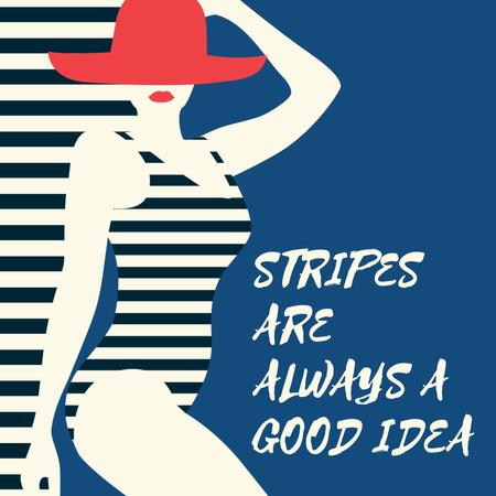 Woman in Striped Swimsuit Animated Post Modelo de Design