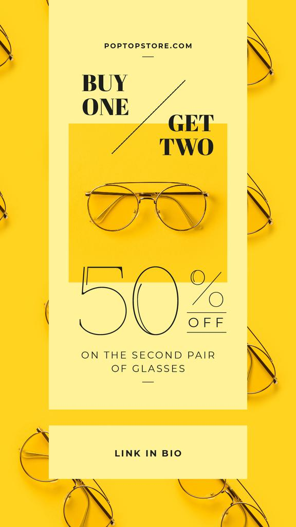 Optics Promotion Glasses in Rows on Yellow — Crear un diseño