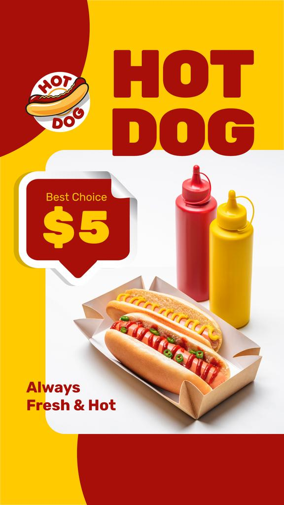 Fast Food menu Offer with hot dogs and sauces — Modelo de projeto