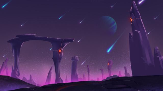 Plantilla de diseño de Landscape of Purple Planet Zoom Background