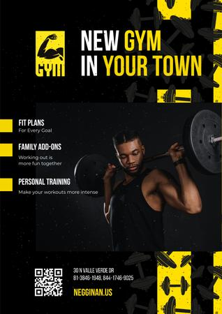 Gym Promotion with Man Lifting Barbell Poster Modelo de Design
