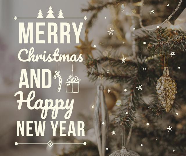 Ontwerpsjabloon van Facebook van Merry Christmas decorated tree