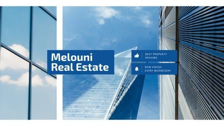 Template di design Real Estate Offer with Modern Skyscrapers in Blue Youtube