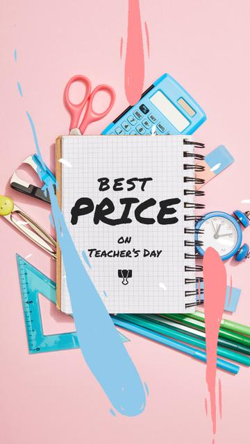 Teacher's Day Sale Offer with Stationery Frame Instagram Video Storyデザインテンプレート