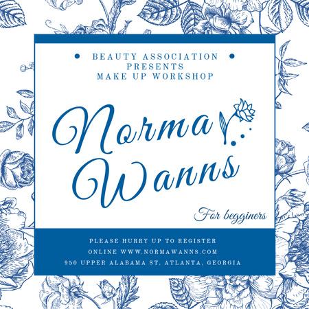 Beauty workshop Ad on Flowers pattern Instagram Modelo de Design