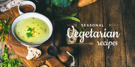 seasonal vegetarian recipes poster with soup Image Modelo de Design