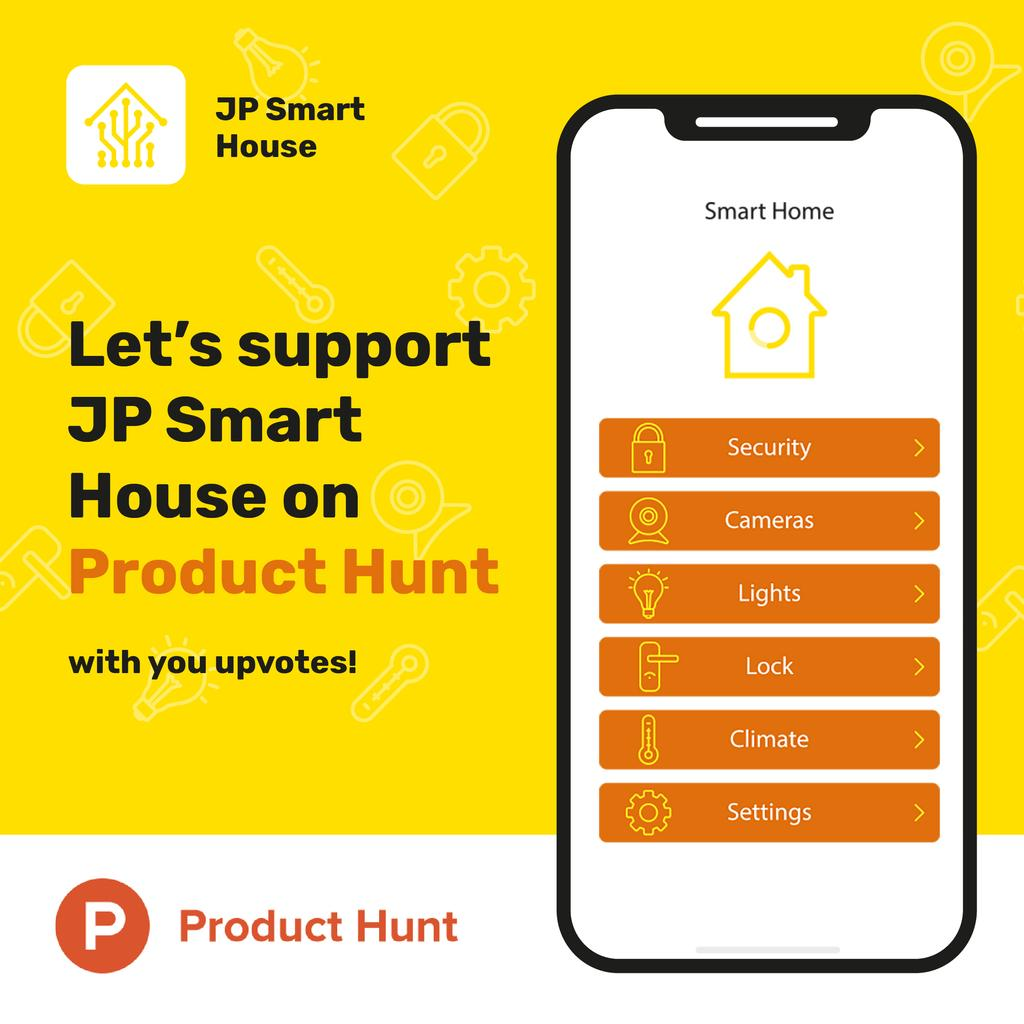 Product Hunt Launch Ad Smart Home App on Screen | Instagram Post Template — Crea un design