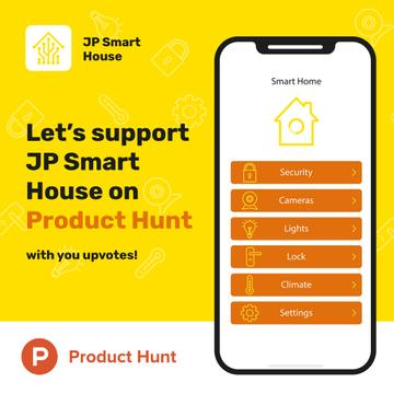 Product Hunt Launch Ad Smart Home App on Screen | Instagram Post Template