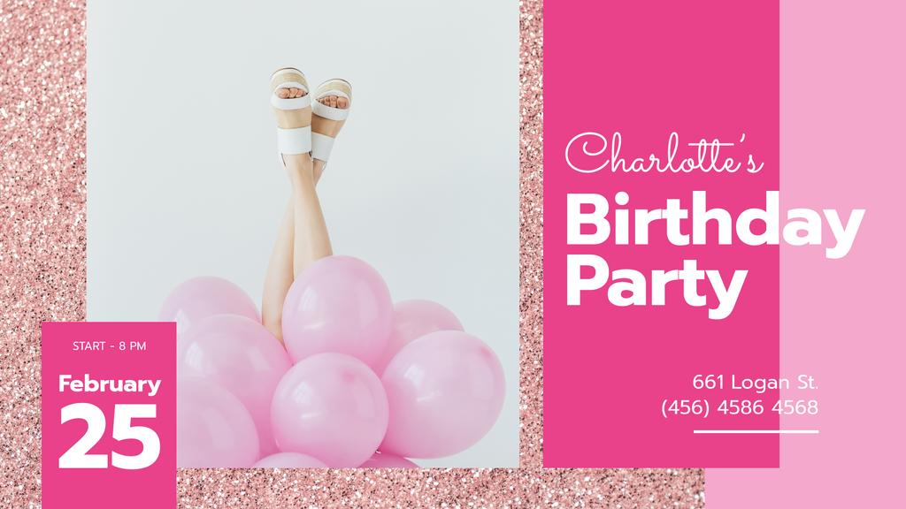 Birthday Party Invitation Girl with Pink Balloons — Создать дизайн
