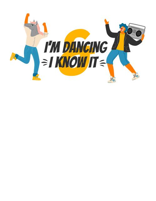 Ontwerpsjabloon van T-Shirt van Dancing Clown with Boombox and Horseman