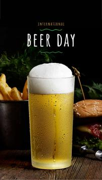 Beer Day Offer Glass and Snacks