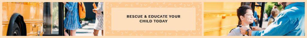 Kids Future Quote Children Taking School Bus | Leaderboard Template — Crea un design