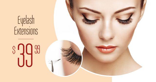 Plantilla de diseño de Eyelash Extensions Offer with Tender Woman Facebook AD