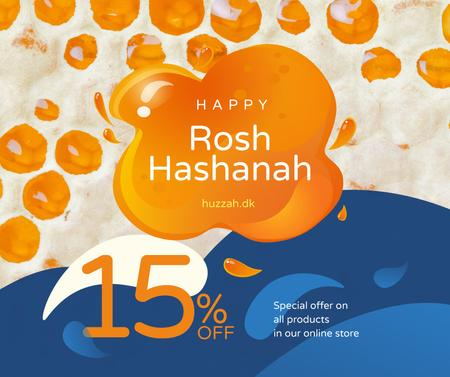 Rosh Hashanah Sale Blots in Orange and Blue Facebook Modelo de Design