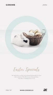 Easter Cute Bunny with Eggs in basket
