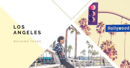 Plantilla de diseño de Walking tours Los Angeles city Facebook AD