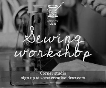 Sewing workshop advertisement