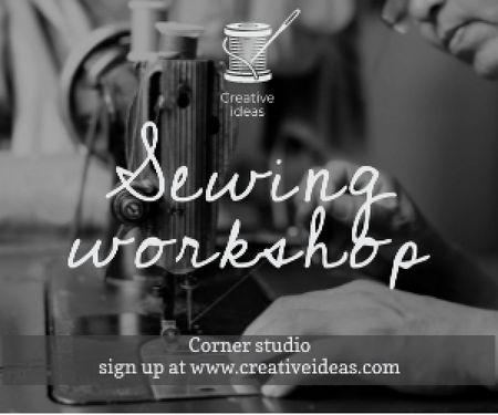 Ontwerpsjabloon van Medium Rectangle van Sewing workshop advertisement