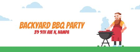 Template di design Barbecue Invitation with Man by Grill Facebook Video cover