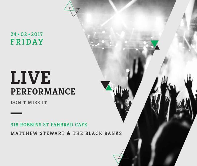 Live Performance Announcement Crowd at Concert Facebook Modelo de Design