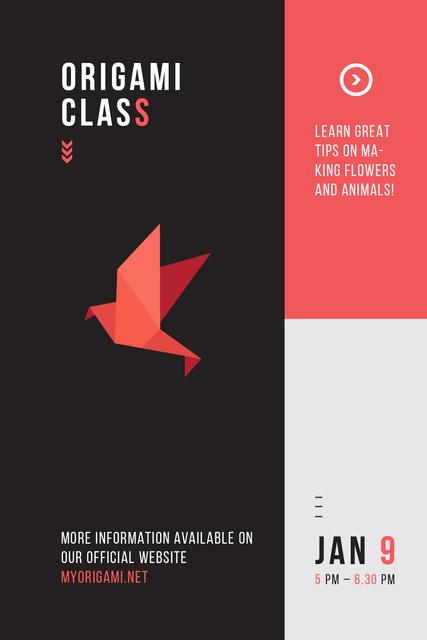 Template di design Origami Classes Invitation Paper Bird in Red Tumblr